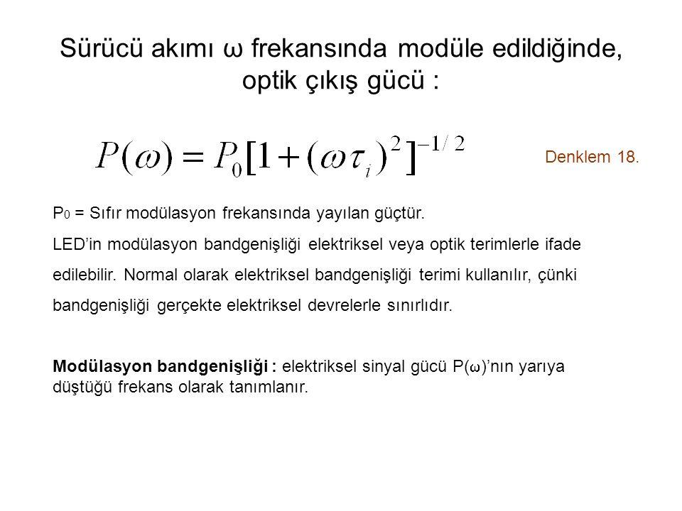 Sürücü akımı ω frekansında modüle edildiğinde, optik çıkış gücü : Denklem 18.