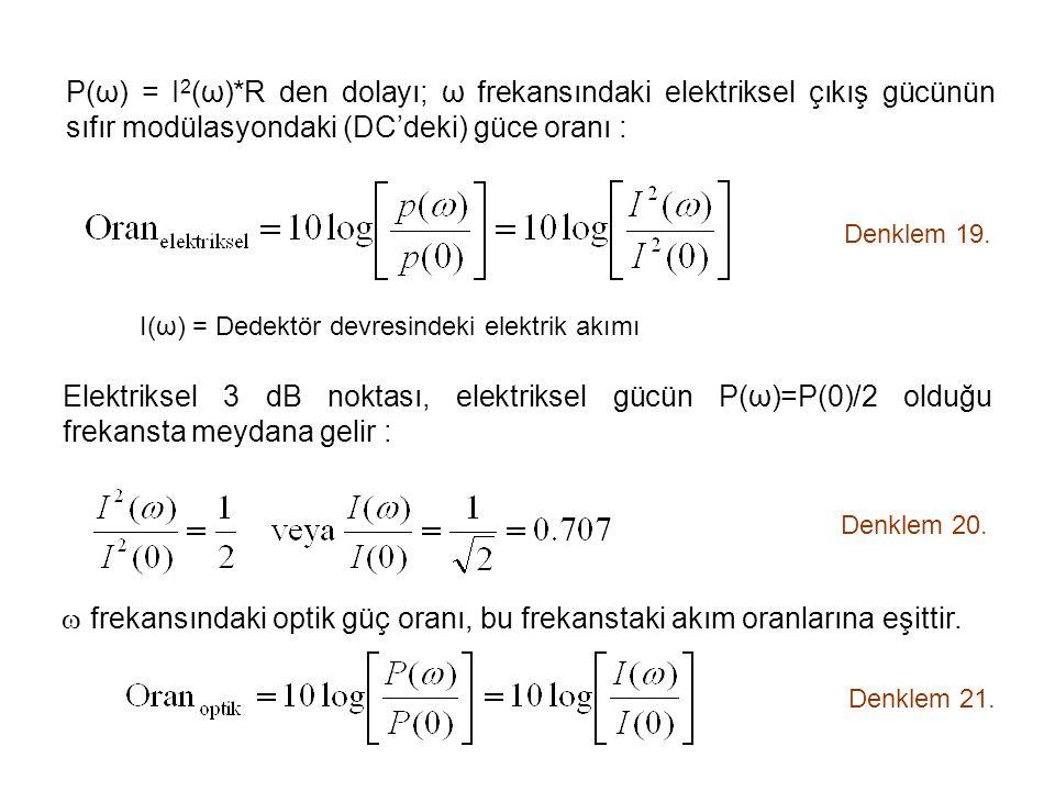 P(ω) = I 2 (ω)*R den dolayı; ω frekansındaki elektriksel çıkış gücünün sıfır modülasyondaki (DC'deki) güce oranı : Denklem 19.