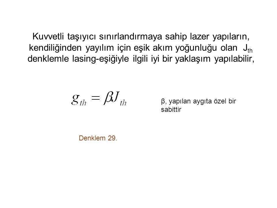 Kuvvetli taşıyıcı sınırlandırmaya sahip lazer yapıların, kendiliğinden yayılım için eşik akım yoğunluğu olan J th denklemle lasing-eşiğiyle ilgili iyi bir yaklaşım yapılabilir, Denklem 29.