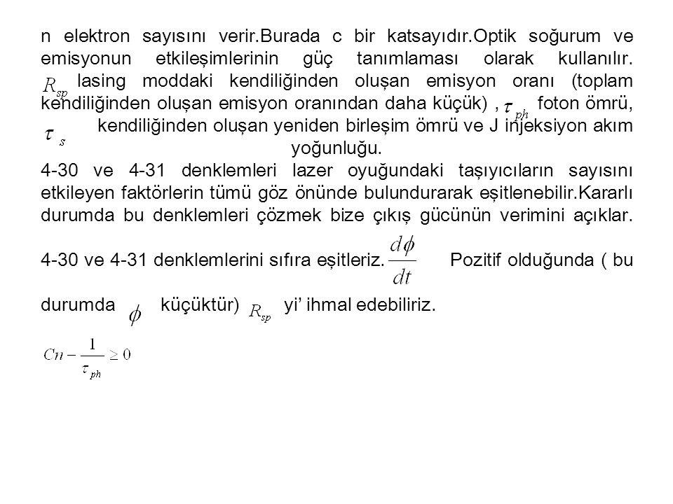 n elektron sayısını verir.Burada c bir katsayıdır.Optik soğurum ve emisyonun etkileşimlerinin güç tanımlaması olarak kullanılır.