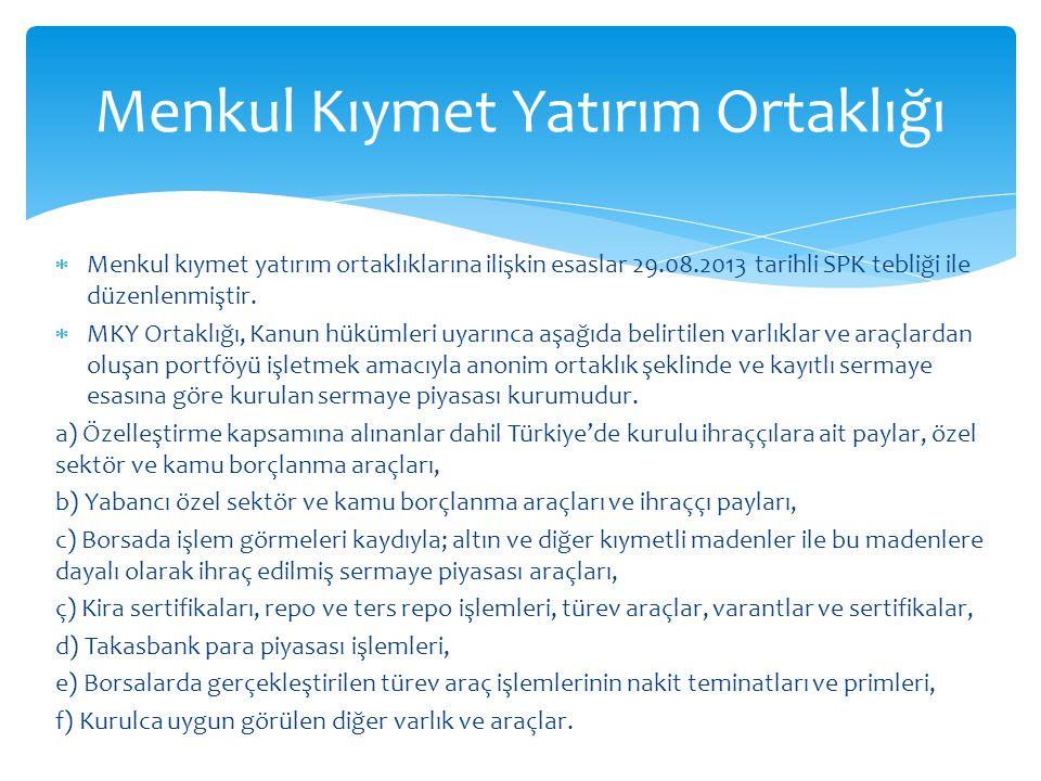  Menkul kıymet yatırım ortaklıklarına ilişkin esaslar 29.08.2013 tarihli SPK tebliği ile düzenlenmiştir.
