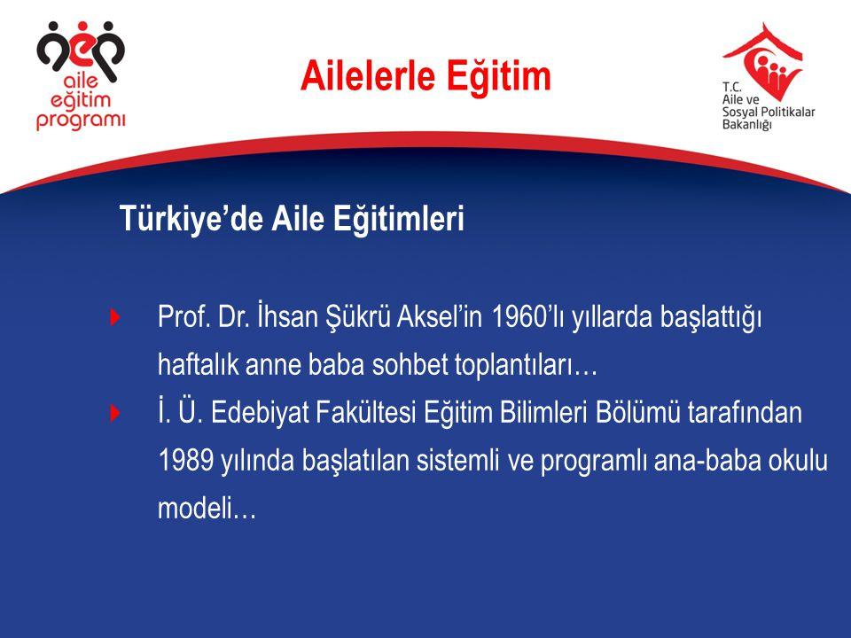  Prof. Dr. İhsan Şükrü Aksel'in 1960'lı yıllarda başlattığı haftalık anne baba sohbet toplantıları…  İ. Ü. Edebiyat Fakültesi Eğitim Bilimleri Bölüm