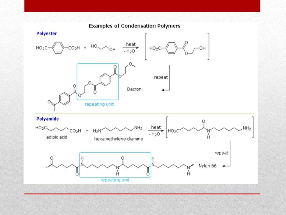 Yüksek molar kütleli polimer İki ayrı çıkış maddesinin kullanıldığı ( diol, diamin gibi) kondenzasyon sentezlerinde yüksek molar kütleli polimerler, eş molar girdilerden çıkılarak hazırlanabilir (fonksiyonel grup sayıları eşitlenir).
