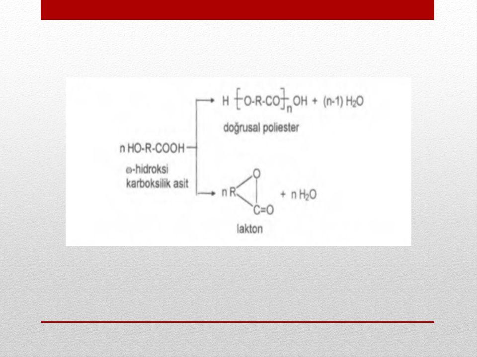 Halka oluşumu H 2 N-R-NH 2 ve HOOC-R-COOH gibi iki fonksiyonel grubu birlikte taşıyan moleküllerin kondenzasyonunda da beklenir.