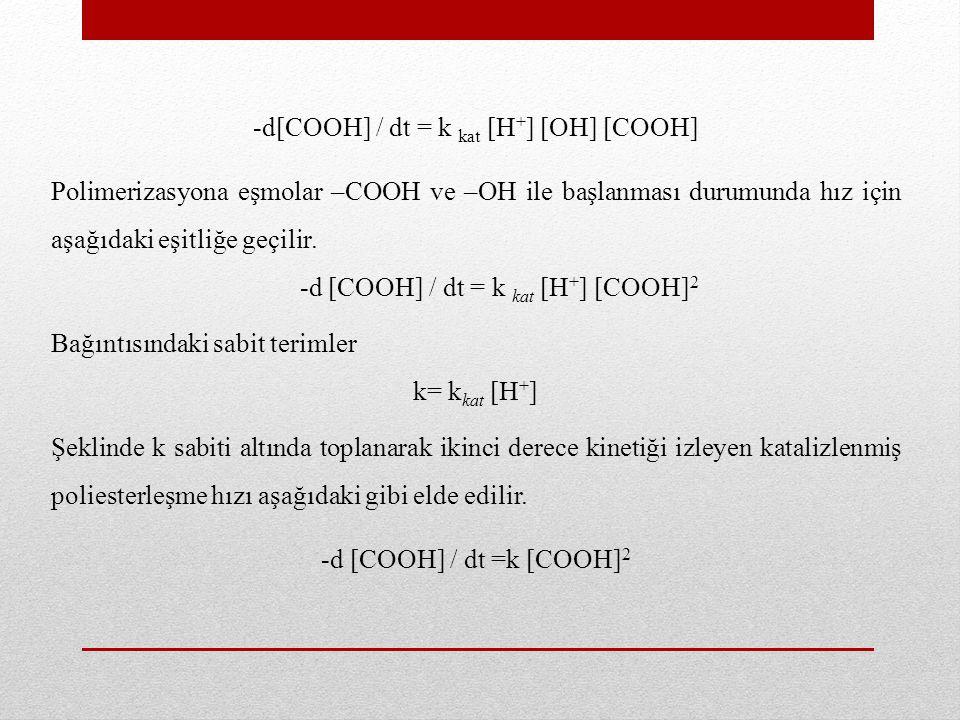 Bağıntının, t=0'da [COOH] = [COOH] 0 ve t = t'de [COOH] = [COOH] sınırları arasında integralinin alınmasıyla polimerizasyon süresince ortamda bulunabilecek fonksiyonel grup derişimini zamana bağlayan ilişki türetilir.