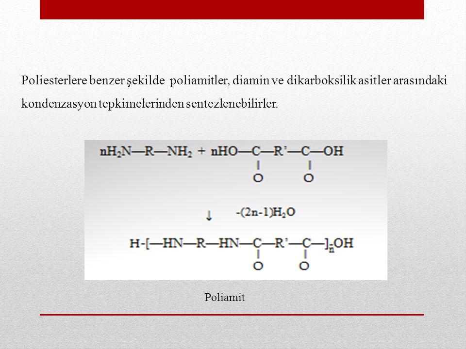 ii) –OH ve –COOH gruplarını birlikte taşıyan bifonksiyonel moleküller, tepkimesinde olduğu gibi poliester verecek şekilde veya – NH 2 ve –COOH gruplarını birlikte taşıyan bifonksiyonel moleküller Poliamit Poliester tepkimesiyle poliamit oluşturmak üzere kondenzasyon tepkimesine girebilirler.