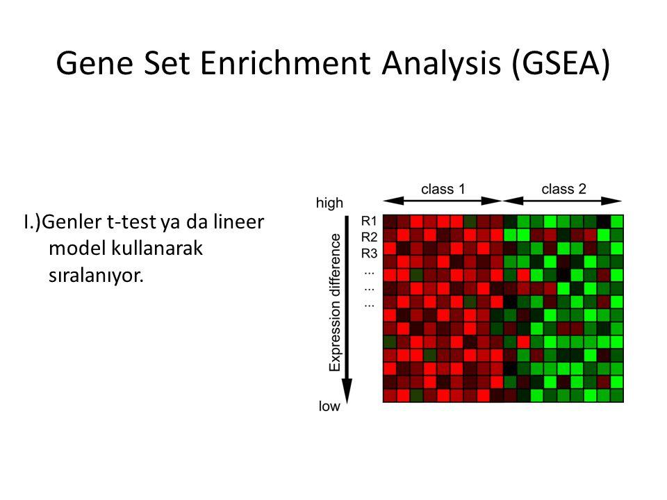 I.)Genler t-test ya da lineer model kullanarak sıralanıyor. Gene Set Enrichment Analysis (GSEA)