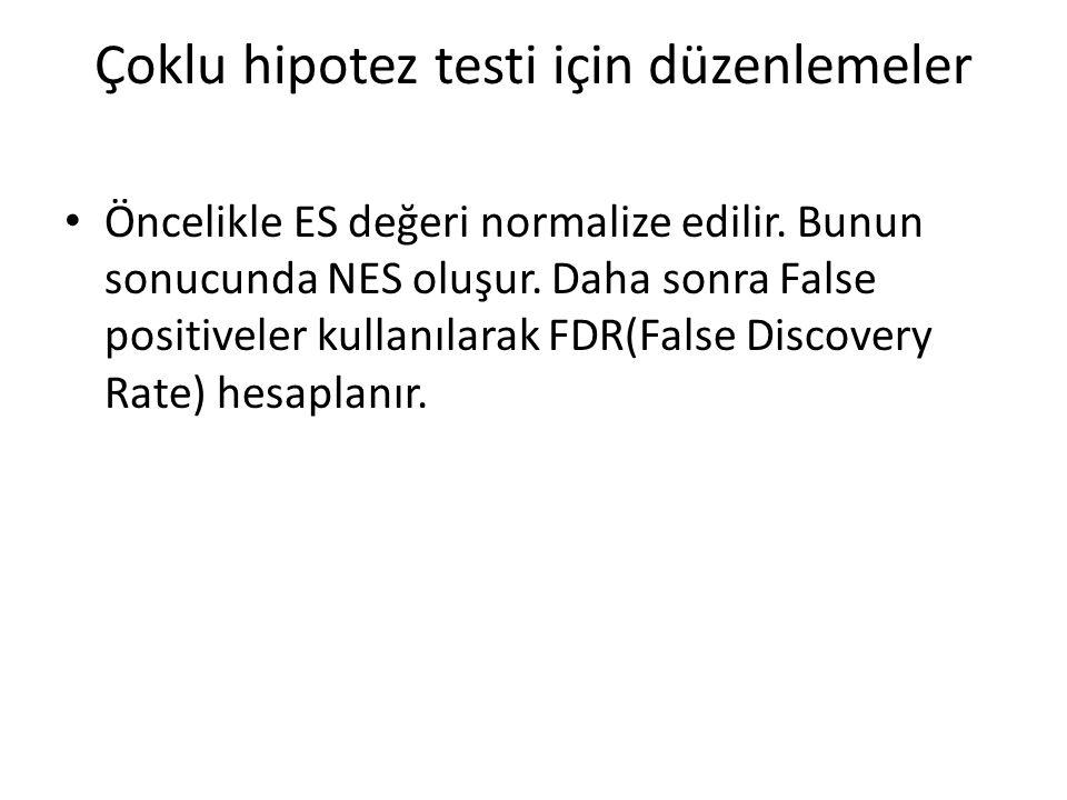 Çoklu hipotez testi için düzenlemeler Öncelikle ES değeri normalize edilir. Bunun sonucunda NES oluşur. Daha sonra False positiveler kullanılarak FDR(