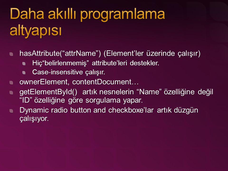 """hasAttribute(""""attrName"""") (Element'ler üzerinde çalışır) Hiç""""belirlenmemiş"""" attribute'leri destekler. Case-insensitive çalışır. ownerElement, contentDo"""