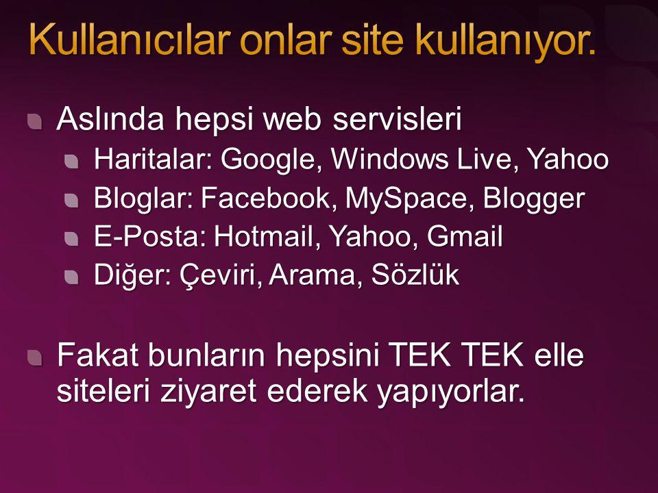 Aslında hepsi web servisleri Haritalar: Google, Windows Live, Yahoo Bloglar: Facebook, MySpace, Blogger E-Posta: Hotmail, Yahoo, Gmail Diğer: Çeviri, Arama, Sözlük Fakat bunların hepsini TEK TEK elle siteleri ziyaret ederek yapıyorlar.