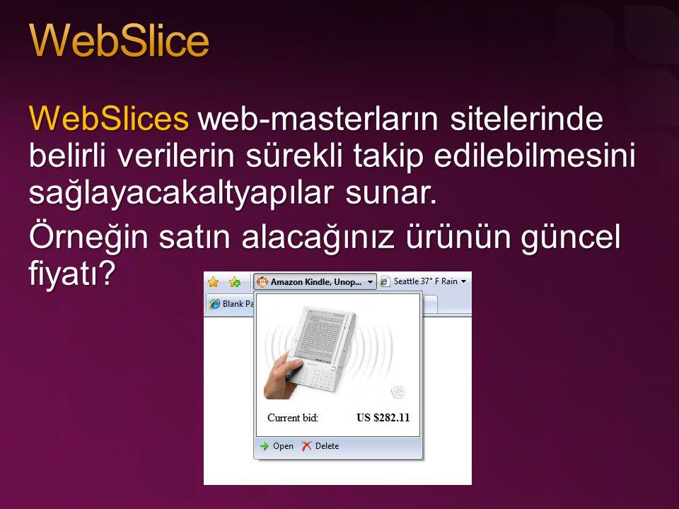 WebSlices web-masterların sitelerinde belirli verilerin sürekli takip edilebilmesini sağlayacakaltyapılar sunar. Örneğin satın alacağınız ürünün günce