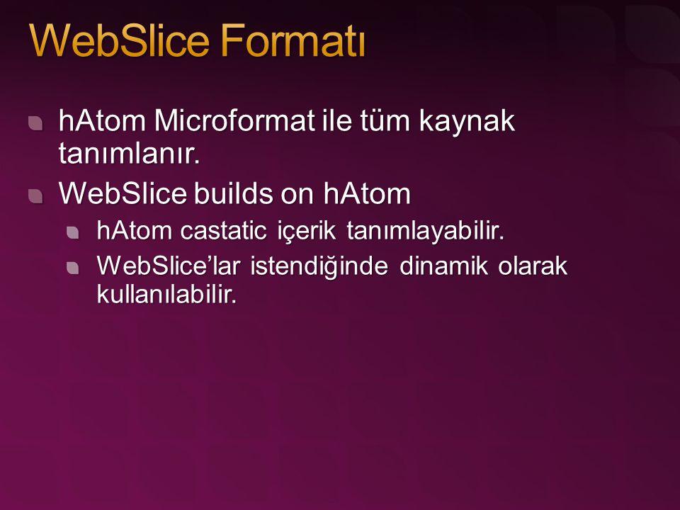 hAtom Microformat ile tüm kaynak tanımlanır. WebSlice builds on hAtom hAtom castatic içerik tanımlayabilir. WebSlice'lar istendiğinde dinamik olarak k