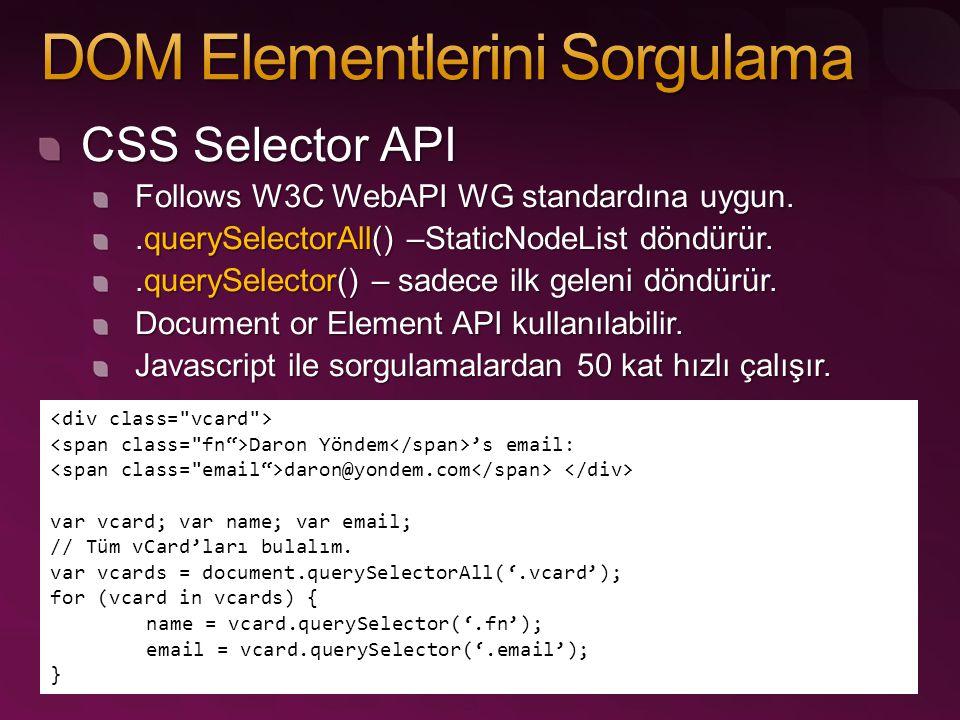 CSS Selector API Follows W3C WebAPI WG standardına uygun..querySelectorAll() –StaticNodeList döndürür..querySelector() – sadece ilk geleni döndürür. D