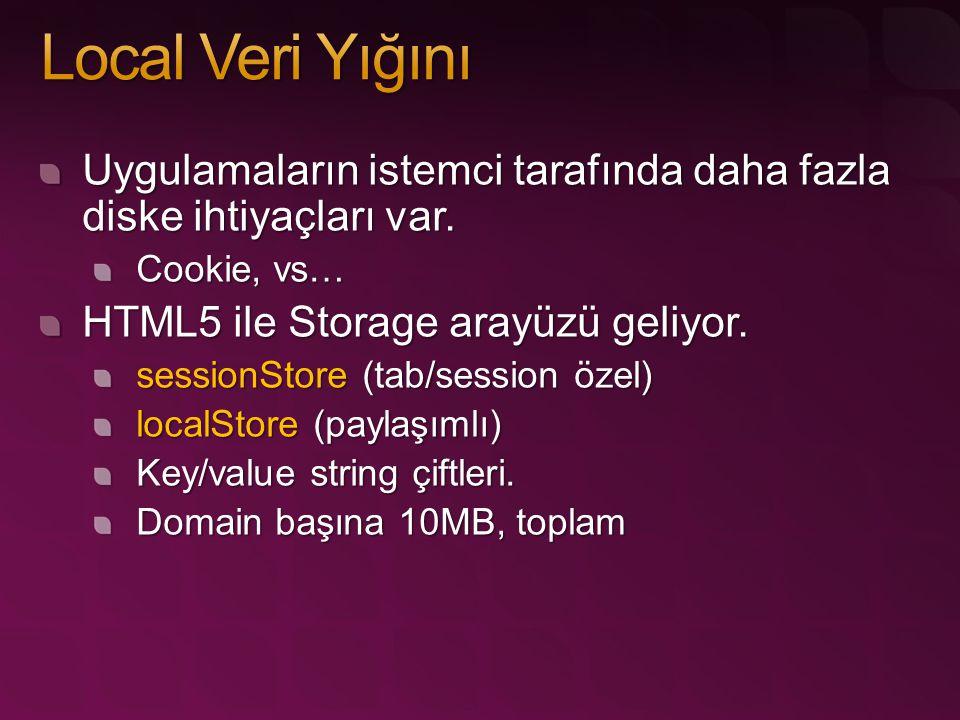 Uygulamaların istemci tarafında daha fazla diske ihtiyaçları var. Cookie, vs… HTML5 ile Storage arayüzü geliyor. sessionStore (tab/session özel) local