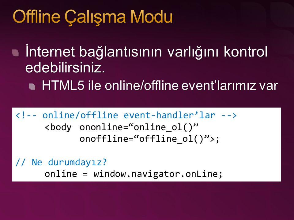 """İnternet bağlantısının varlığını kontrol edebilirsiniz. HTML5 ile online/offline event'larımız var <body ononline=""""online_ol()"""" onoffline=""""offline_ol("""