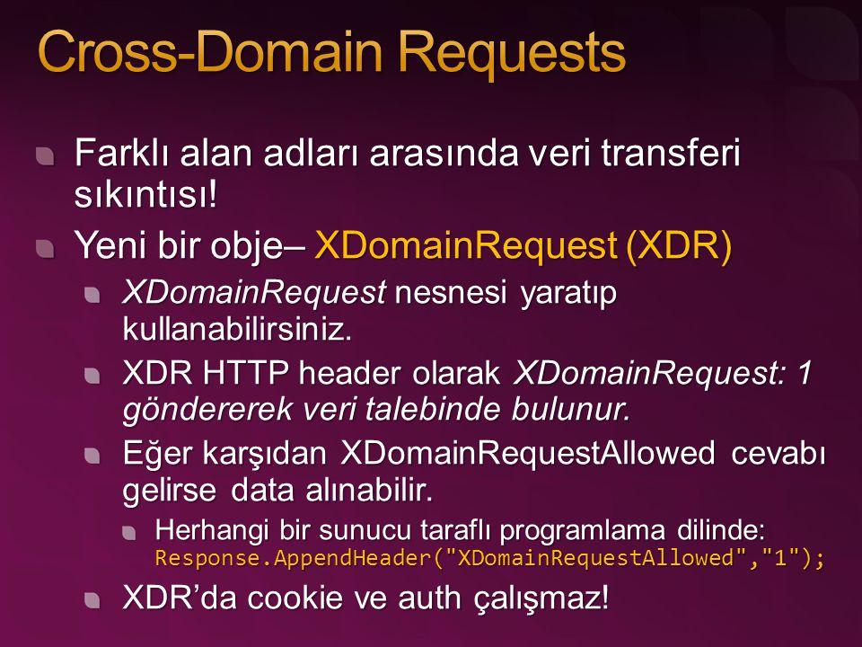 Farklı alan adları arasında veri transferi sıkıntısı! Yeni bir obje– XDomainRequest (XDR) XDomainRequest nesnesi yaratıp kullanabilirsiniz. XDR HTTP h