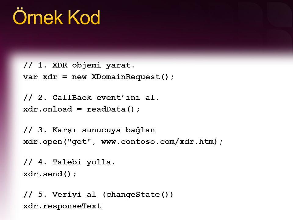 // 1. XDR objemi yarat. var xdr = new XDomainRequest(); // 2. CallBack event'ını al. xdr.onload = readData(); // 3. Karşı sunucuya bağlan xdr.open(