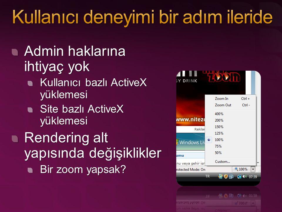 Admin haklarına ihtiyaç yok Kullanıcı bazlı ActiveX yüklemesi Site bazlı ActiveX yüklemesi Rendering alt yapısında değişiklikler Bir zoom yapsak