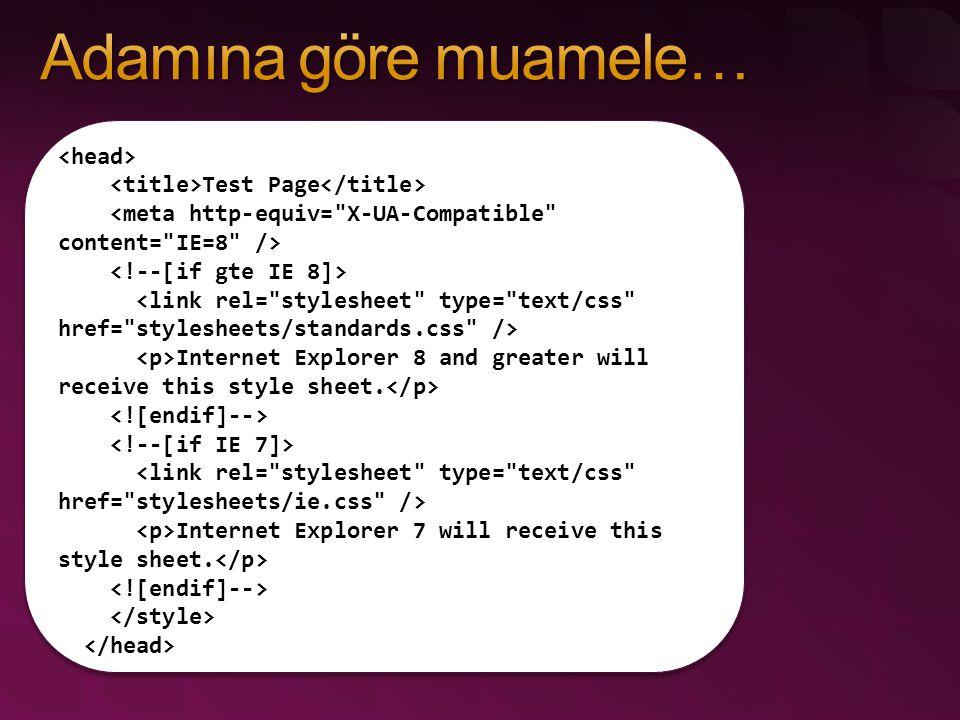 hasAttribute( attrName ) (Element'ler üzerinde çalışır) Hiç belirlenmemiş attribute'leri destekler.