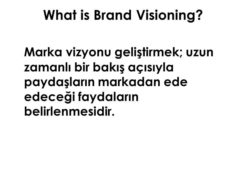 What is Brand Visioning? Marka vizyonu geliştirmek; uzun zamanlı bir bakış açısıyla paydaşların markadan ede edeceği faydaların belirlenmesidir.