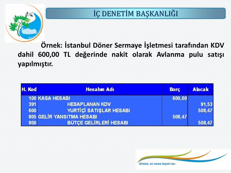 İÇ DENETİM BAŞKANLIĞI Örnek: İstanbul Döner Sermaye İşletmesi tarafından KDV dahil 600,00 TL değerinde nakit olarak Avlanma pulu satışı yapılmıştır.