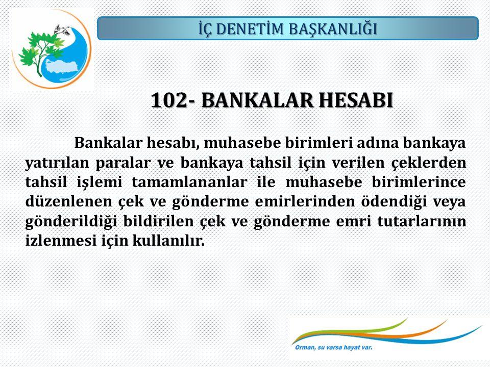 İÇ DENETİM BAŞKANLIĞI 102- BANKALAR HESABI Bankalar hesabı, muhasebe birimleri adına bankaya yatırılan paralar ve bankaya tahsil için verilen çeklerde