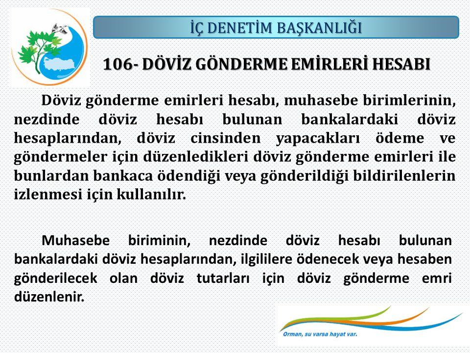 İÇ DENETİM BAŞKANLIĞI 106- DÖVİZ GÖNDERME EMİRLERİ HESABI Döviz gönderme emirleri hesabı, muhasebe birimlerinin, nezdinde döviz hesabı bulunan bankala