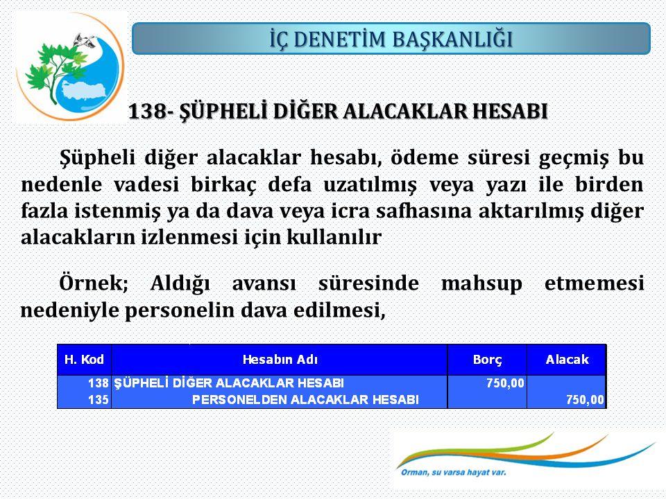 İÇ DENETİM BAŞKANLIĞI 138- ŞÜPHELİ DİĞER ALACAKLAR HESABI Şüpheli diğer alacaklar hesabı, ödeme süresi geçmiş bu nedenle vadesi birkaç defa uzatılmış