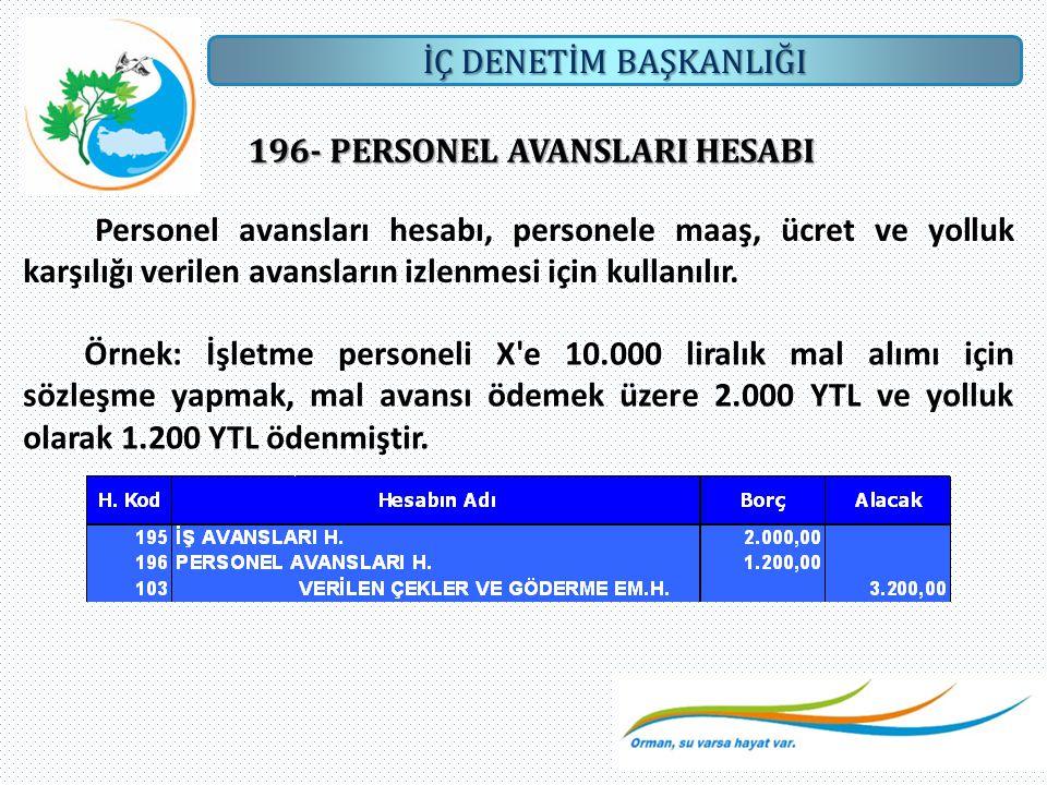 İÇ DENETİM BAŞKANLIĞI 196- PERSONEL AVANSLARI HESABI Personel avansları hesabı, personele maaş, ücret ve yolluk karşılığı verilen avansların izlenmesi