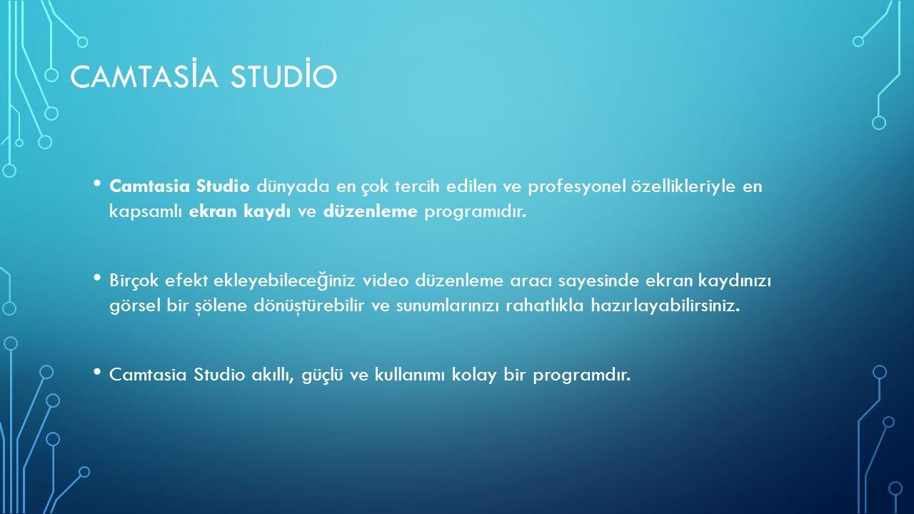 CAMTAS İ A STUD İ O Camtasia Studio dünyada en çok tercih edilen ve profesyonel özellikleriyle en kapsamlı ekran kaydı ve düzenleme programıdır. Birço