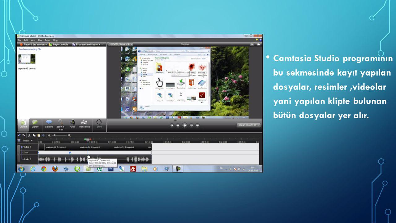 Camtasia Studio programının bu sekmesinde kayıt yapılan dosyalar, resimler,videolar yani yapılan klipte bulunan bütün dosyalar yer alır.