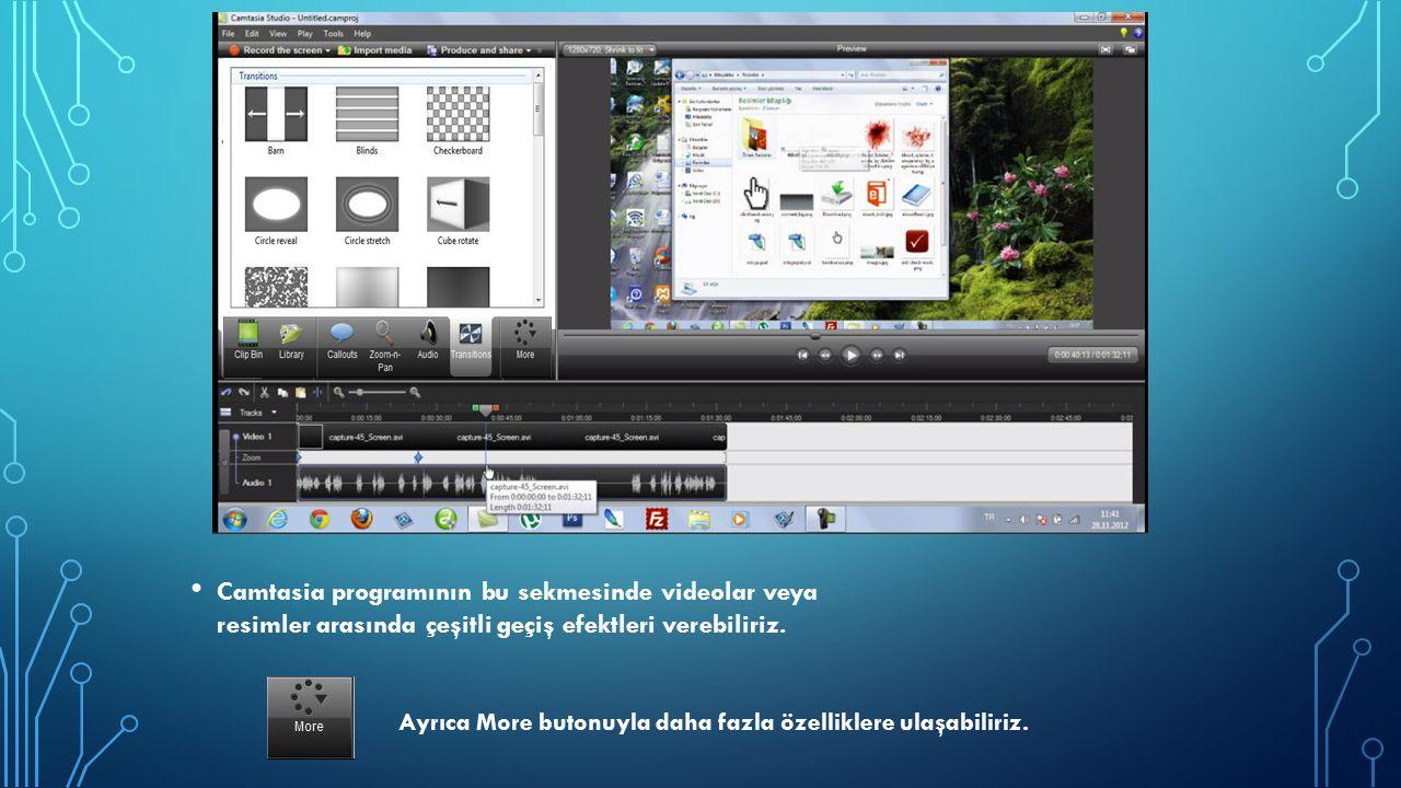 Camtasia programının bu sekmesinde videolar veya resimler arasında çeşitli geçiş efektleri verebiliriz. Ayrıca More butonuyla daha fazla özelliklere u