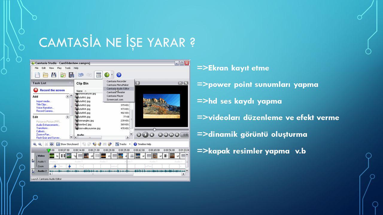 CAMTAS İ A NE İ ŞE YARAR ? =>Ekran kayıt etme =>power point sunumları yapma =>hd ses kaydı yapma =>videoları düzenleme ve efekt verme =>dinamik görünt