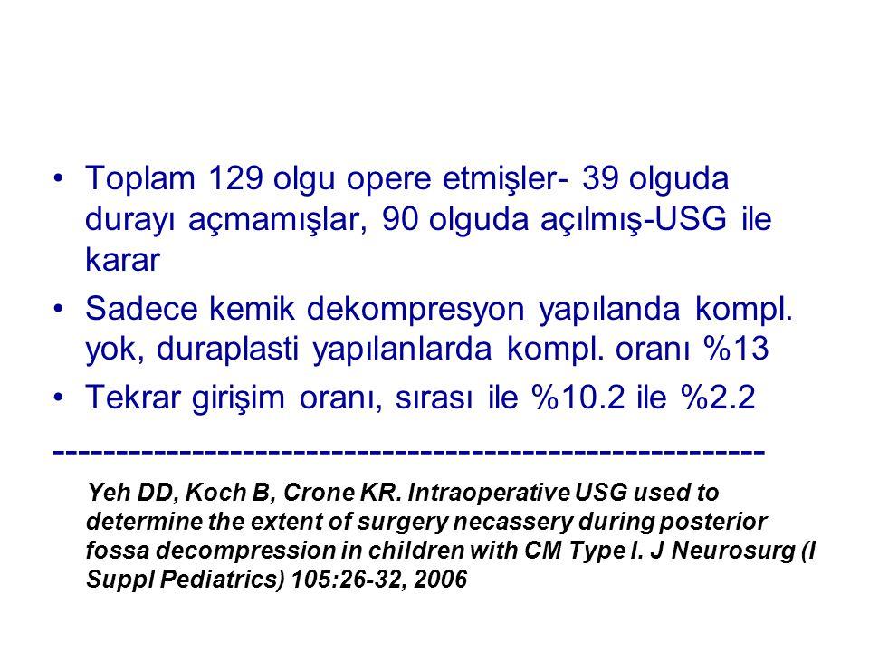 Toplam 129 olgu opere etmişler- 39 olguda durayı açmamışlar, 90 olguda açılmış-USG ile karar Sadece kemik dekompresyon yapılanda kompl. yok, duraplast