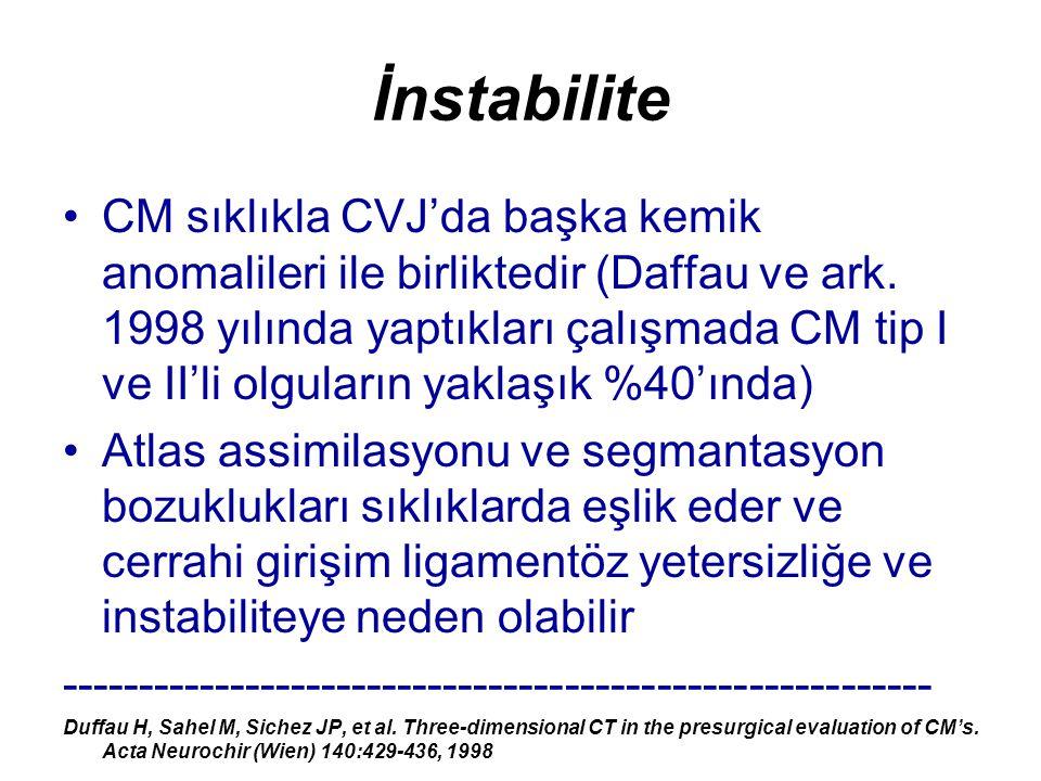 İnstabilite CM sıklıkla CVJ'da başka kemik anomalileri ile birliktedir (Daffau ve ark. 1998 yılında yaptıkları çalışmada CM tip I ve II'li olguların y