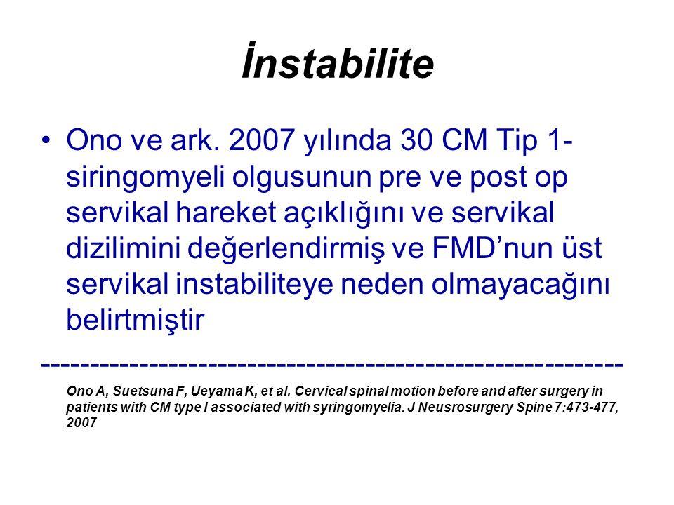 İnstabilite Ono ve ark. 2007 yılında 30 CM Tip 1- siringomyeli olgusunun pre ve post op servikal hareket açıklığını ve servikal dizilimini değerlendir