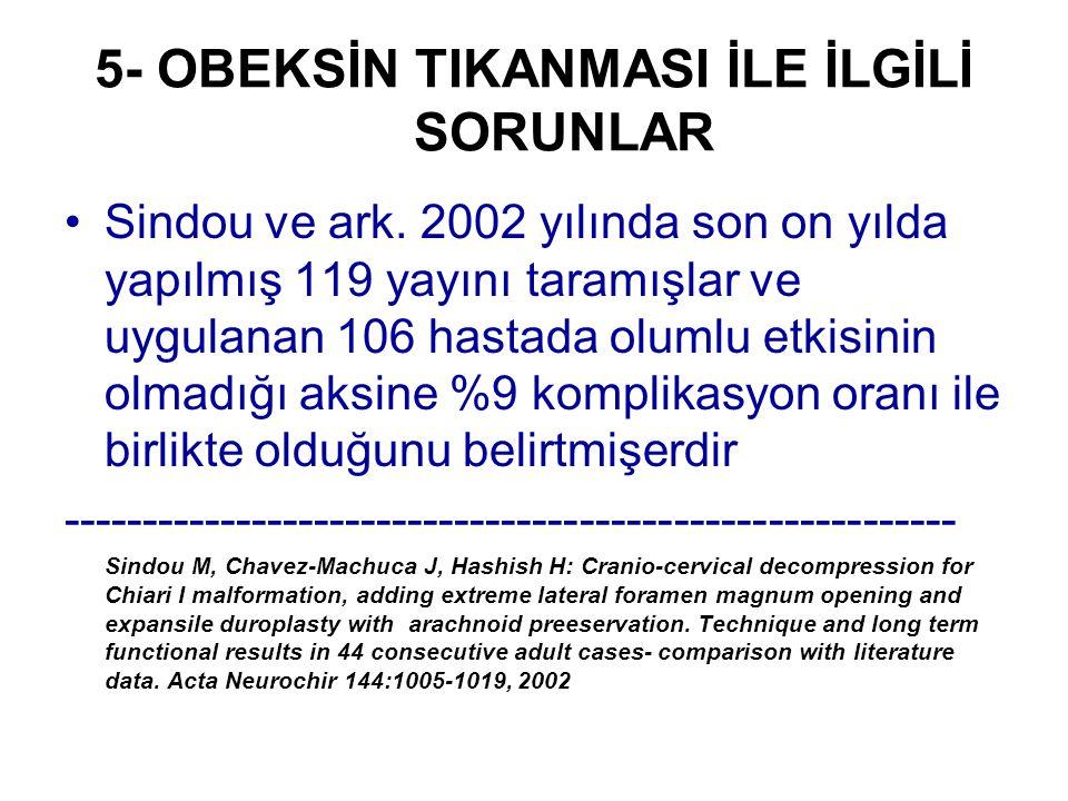 5- OBEKSİN TIKANMASI İLE İLGİLİ SORUNLAR Sindou ve ark. 2002 yılında son on yılda yapılmış 119 yayını taramışlar ve uygulanan 106 hastada olumlu etkis
