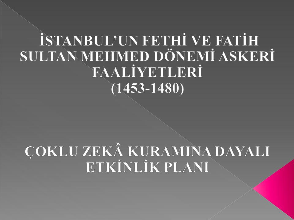 DERS: TARİH ÜNİTE: DÜNYA GÜCÜ OSMANLI DEVLETİ (1453-1600) KONU: İSTANBUL'UN FETHİ 1.