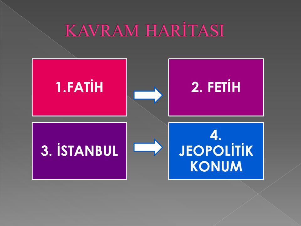 1.FATİH2. FETİH 3. İSTANBUL 4. JEOPOLİTİK KONUM