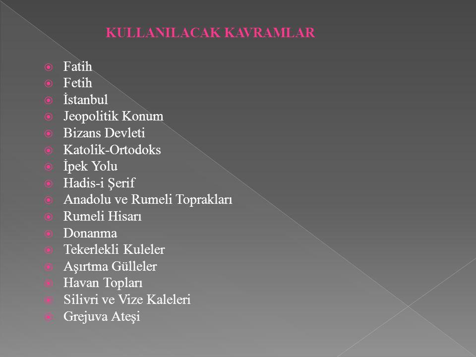 KULLANILACAK KAVRAMLAR  Fatih  Fetih  İstanbul  Jeopolitik Konum  Bizans Devleti  Katolik-Ortodoks  İpek Yolu  Hadis-i Şerif  Anadolu ve Rume