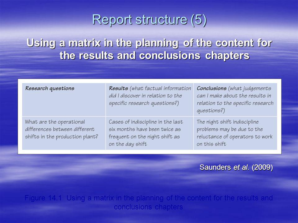 Report structure (5) Using a matrix in the planning of the content for the results and conclusions chapters Saunders et al. (2009) Figure 14.1 Using a