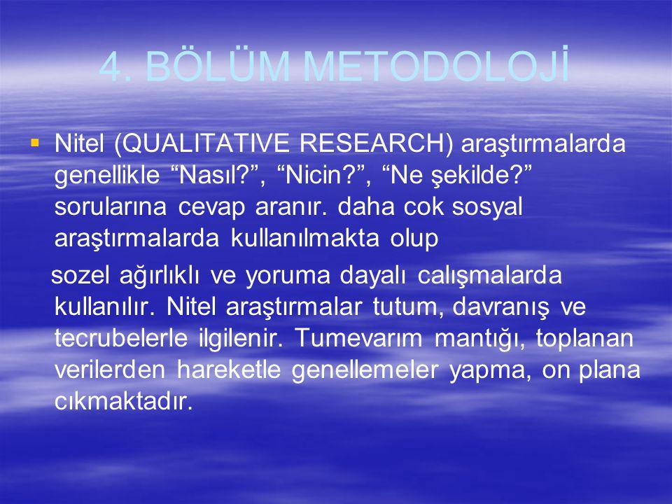 """4. BÖLÜM METODOLOJİ  Nitel (QUALITATIVE RESEARCH) araştırmalarda genellikle """"Nasıl?"""", """"Nicin?"""", """"Ne şekilde?"""" sorularına cevap aranır. daha cok sosya"""