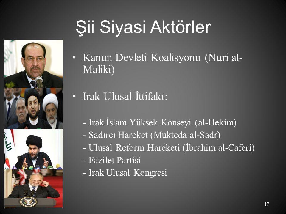 Şii Siyasi Aktörler Kanun Devleti Koalisyonu (Nuri al- Maliki) Irak Ulusal İttifakı: - Irak İslam Yüksek Konseyi (al-Hekim) - Sadırcı Hareket (Mukteda al-Sadr) - Ulusal Reform Hareketi (İbrahim al-Caferi) - Fazilet Partisi - Irak Ulusal Kongresi 17