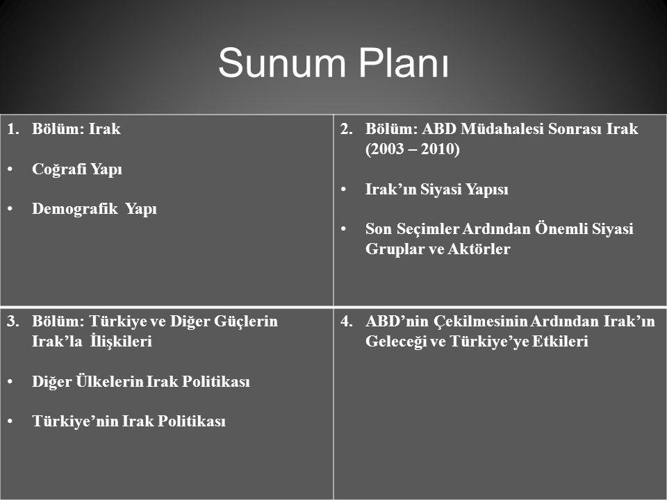 Sunum Planı 2 1.Bölüm: Irak Coğrafi Yapı Demografik Yapı 2.Bölüm: ABD Müdahalesi Sonrası Irak (2003 – 2010) Irak'ın Siyasi Yapısı Son Seçimler Ardından Önemli Siyasi Gruplar ve Aktörler 3.Bölüm: Türkiye ve Diğer Güçlerin Irak'la İlişkileri Diğer Ülkelerin Irak Politikası Türkiye'nin Irak Politikası 4.ABD'nin Çekilmesinin Ardından Irak'ın Geleceği ve Türkiye'ye Etkileri