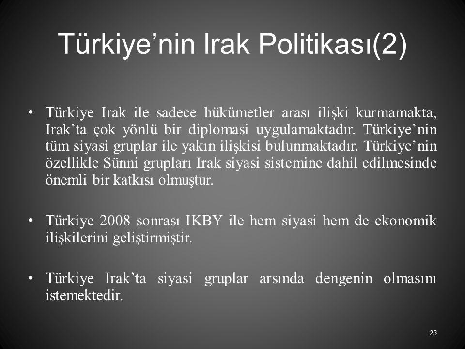 Türkiye'nin Irak Politikası(2) Türkiye Irak ile sadece hükümetler arası ilişki kurmamakta, Irak'ta çok yönlü bir diplomasi uygulamaktadır.