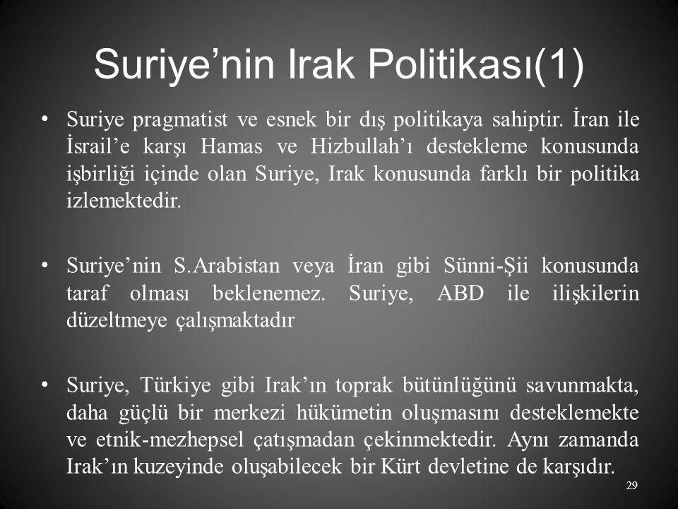 Suriye'nin Irak Politikası(1) Suriye pragmatist ve esnek bir dış politikaya sahiptir.