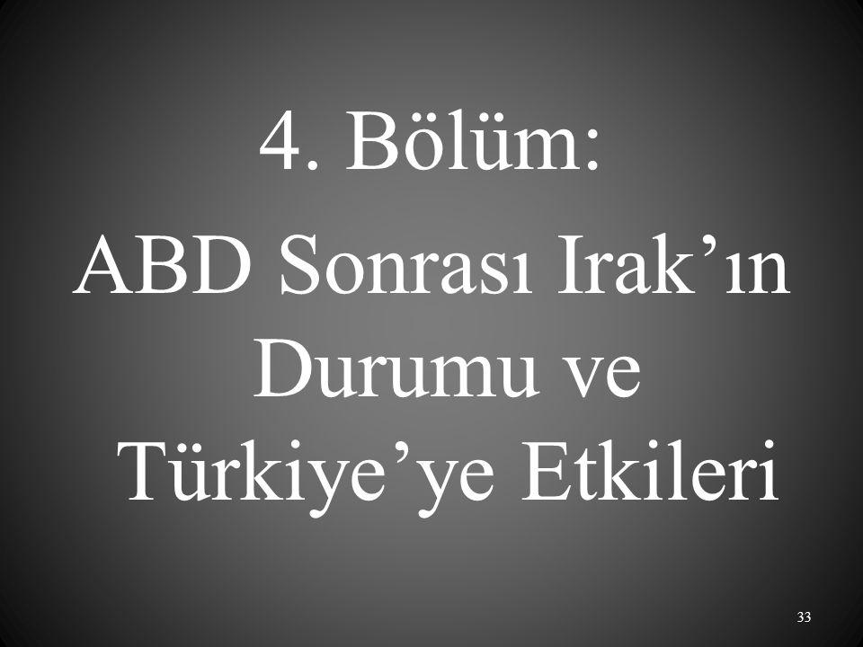4. Bölüm: ABD Sonrası Irak'ın Durumu ve Türkiye'ye Etkileri 33