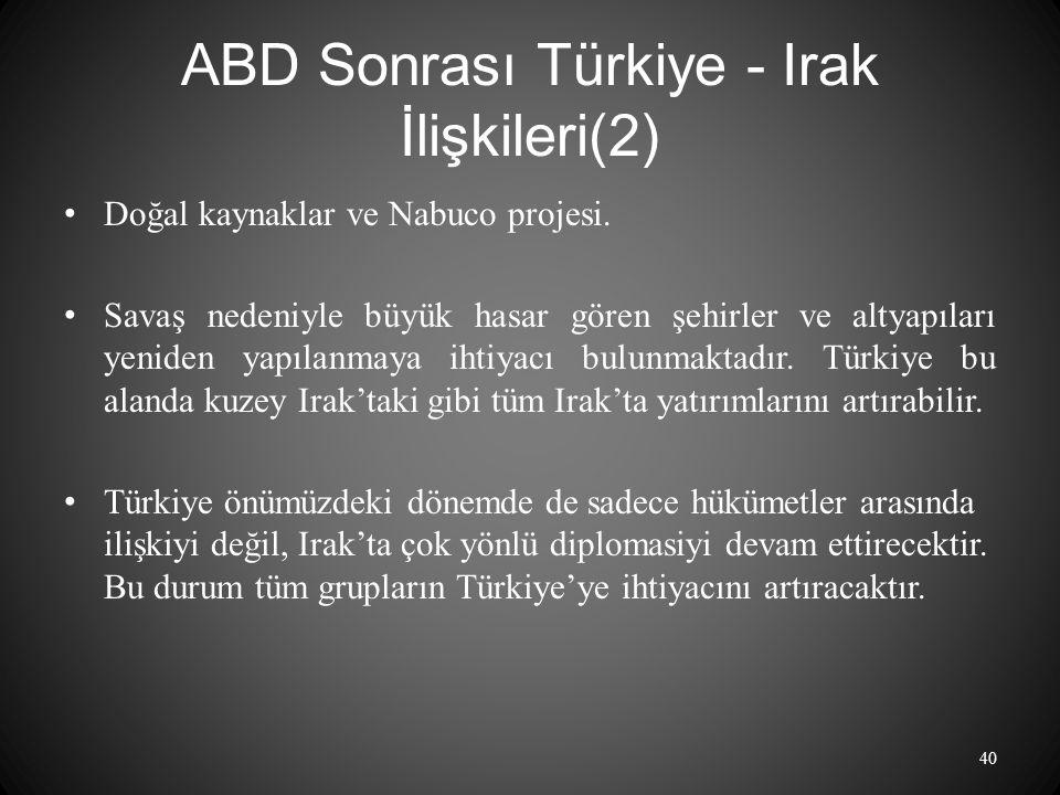 ABD Sonrası Türkiye - Irak İlişkileri(2) Doğal kaynaklar ve Nabuco projesi.