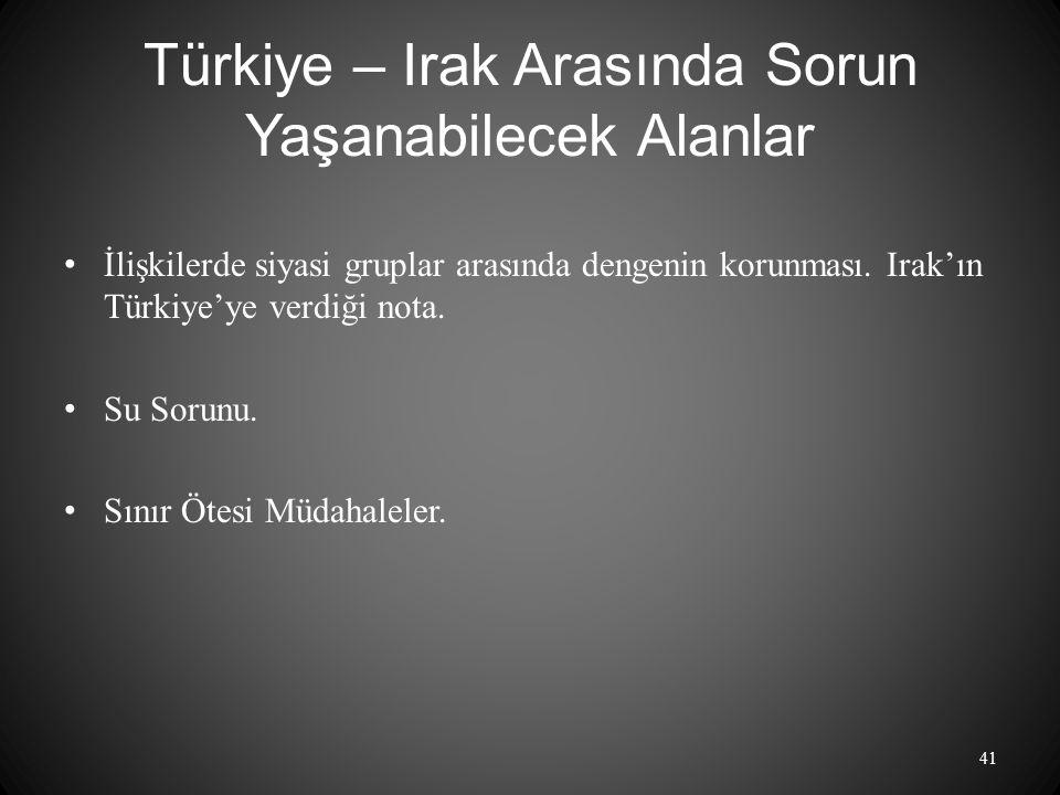Türkiye – Irak Arasında Sorun Yaşanabilecek Alanlar İlişkilerde siyasi gruplar arasında dengenin korunması.
