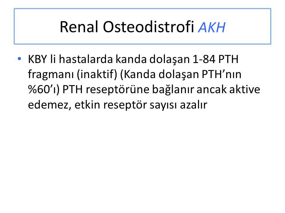 Renal Osteodistrofi AKH KBY li hastalarda kanda dolaşan 1-84 PTH fragmanı (inaktif) (Kanda dolaşan PTH'nın %60'ı) PTH reseptörüne bağlanır ancak aktiv